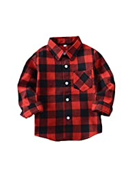 Tortor 1Bacha Little Boys' Long Sleeve Button Down Plaid Flannel Shirt