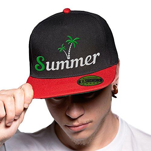Summer Time Black Red Cap Original Gorra Snapback Unisex, Ajustable, con Visera Plana y Logotipo Urbano Bordado.