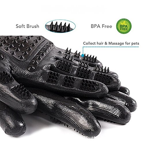 M&M Pet Grooming Gloves - Hair Remover Brush for Dogs, Cats & Horses with Long Short Fur-Gentle Massage Bathing Brush Tool