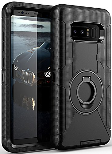 Galaxy Note 8 Case, ELV Note 8 Holster Defender Case- Shock-Absorption / High Impact Resistant Armor Full Body Protective Case Cover with Kickstand and Belt Swivel Clip for Samsung Galaxy Note 8 BLACK