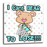 3dRose dpp_104462_3 Cant Bear to Lose Cute Little Bingo Bear-Wall Clock, 15 by 15-Inch