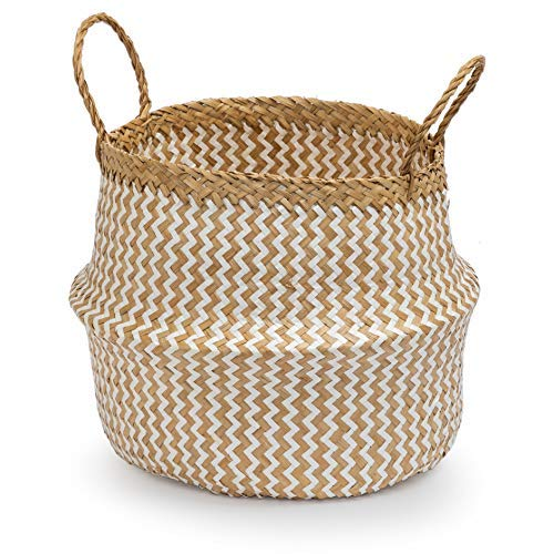 Seagrass Round Basket with Handles, Decorative Woven Basket, Plant Holder, Picnic Basket or Indoor Storage for Blankets, Toys or Laundry, by Toma Design (White - Zigzag, Medium)