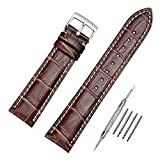 Leather Watch Strap Soft Black Brown Genuine Calfskin Leather Silver Metal Buckle