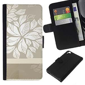 KingStore / Leather Etui en cuir / HTC Desire 820 / Patrón floral gris blanco limpio Wallpaper
