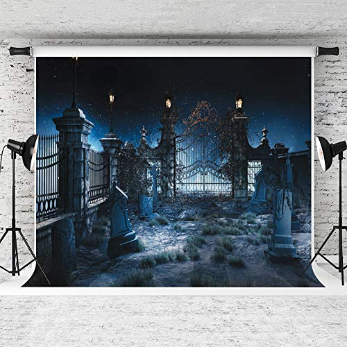 Dobeans 5ft(W) x 7ft(H) Halloween Background Iron Gate Pumpkin Lantern Graveyard Tomb Backdrops for Photographic Studio Props