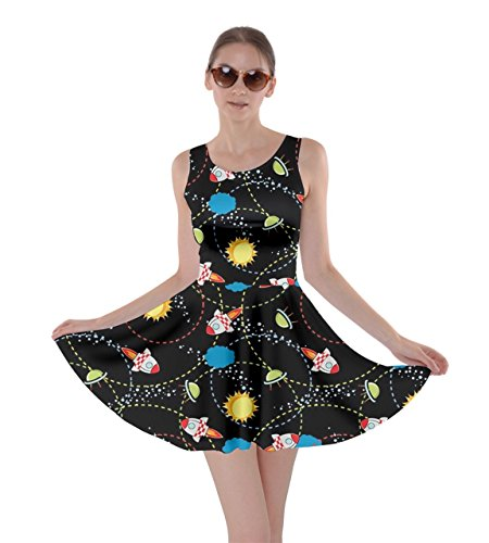 (CowCow Womens Black Space with Cute Rocket Skater Dress, Black -)