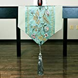 Chinese New Classical Table Flag,Brocade Embroidered Table Table Flag,Tea Table Runner-A 32x200cm(13x79inch)