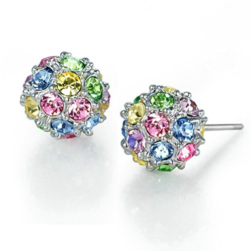Yoursfs Earrings Stud, Colorful Crystal 3D Disco Ball Studs,Women 18k White Gold Plated Fashion Jewelry Mother's Day (Custom Costume Hip Hop Jewelry)