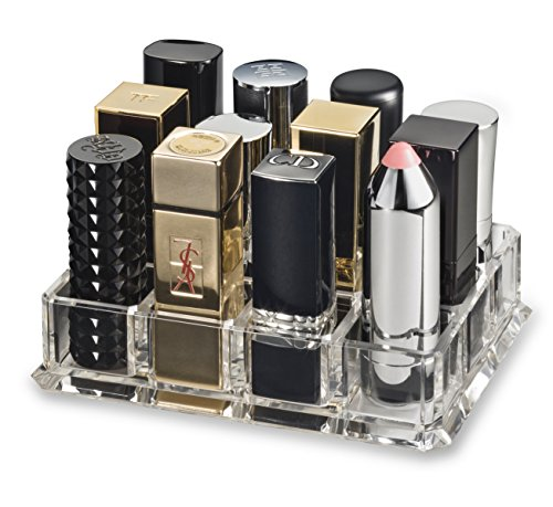 byAlegory Acrylic Lipstick Makeup Organizer Designed For Larger Base Lipsticks 12 Space Cosmetic Storage CLEAR