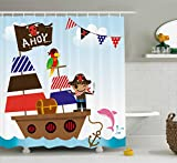 kids bathroom ideas Ambesonne Ahoy Its a Boy Shower Curtain, Cute Pirate Kids Treasure Chest with Ship on Ocean Background Illustration, Fabric Bathroom Decor Set with Hooks, 70 Inches, Multicolor