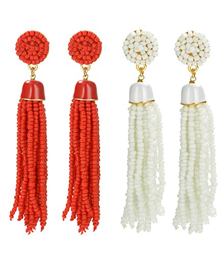 ORAZIO 1-2 Pairs Long Tassel Earrings For Women Girl Beaded Fringe Dangle Ear Drops