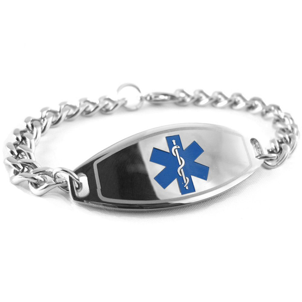 My Identity Doctor - Pre-Engraved & Customized Dementia Medical Bracelet, Wallet Card Incld, Blue