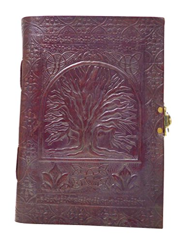 Zap Impex Tree Of Life Leather Journal Handmade Blank Book Of Shadow Diary W/ Swipe LOCK- 10 by 7 Inch