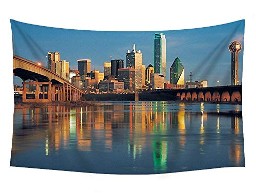 COLORFULSKY Dallas Skyline - World- #12576 Wall Tapestry Art for Home Decor Wall Hanging Tapestry Bedroom Living Room Dorm Decor 60x40 Inches