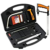 Hiveseen Mini Handheld Hacksaw Set, 15-in-1, Multi Purpose, with 8 HSS Steel Saw Blades, Adjustable Frame, Flexible Manual Hand Tool for Cutting Wood, Plastic, Glass, Tile, Metal, PVC Pipe, Rubber