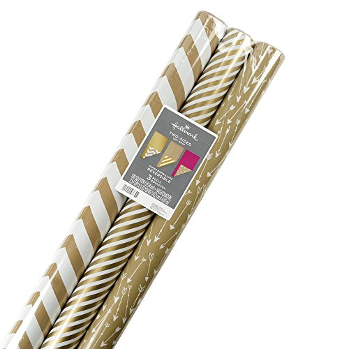 Hallmark Reversible Wrapping Paper, Kraft Gold (Pack of 3, 120 sq. ft. (Holiday Reversible Gift Wrap)