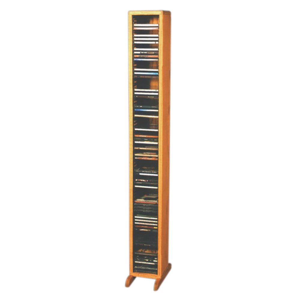 Cdracks Media Furniture Solid Oak Tower for CD Capacity 80 CD's Honey Finish 109-4 (Individual Locking Slots) by CD Racks