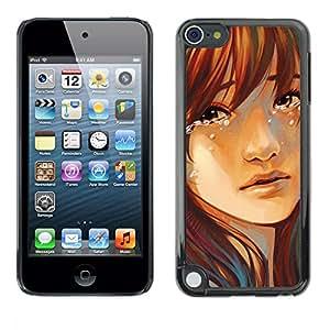 TECHCASE**Cubierta de la caja de protección la piel dura para el ** Apple iPod Touch 5 ** Tears Drop Girl Face Portrait Sad Heartbrake