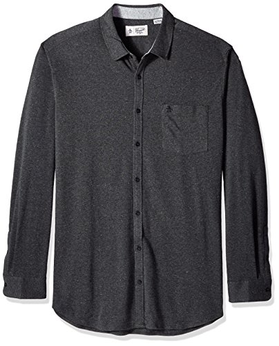 Original Penguin Men's Big and Tall Knitted Nep Shirt, Dark Charcoal, 2 XL-Extra Large Tall Penguins