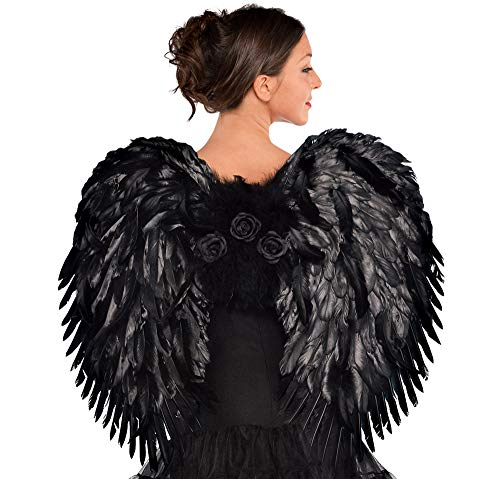 AMSCAN Deluxe Feather Dark Angel Wings Halloween Costume Accessories for Adults, One Size]()