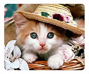 Cute kitten with hat DIY oblong mouse pad by Cases & Mousepads by runtopwell