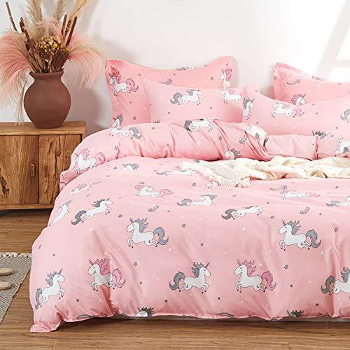 Uozzi Bedding Girls Duvet Cover Set 3 Pieces Queen 90x90 Cute Pattern Bedding Set (1 Pink Unicorn Duvet Cover+2 Pillow Shams) Polyester 800 TC Luxury Hypoallergenic with Zipper Closure, 4 Corner Ties