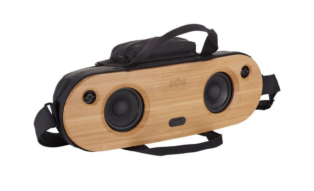 """House of Marley, Bag of Riddim Bluetooth Portable Audio System - 10 Hour Playtime, 2 x 3.5"""" Woofer + 2 x 1"""" Tweeters, Removable Bag with Strap & Handle, Bamboo Faceplate, EM-JA014-SB Siganture Black by House of Marley"""