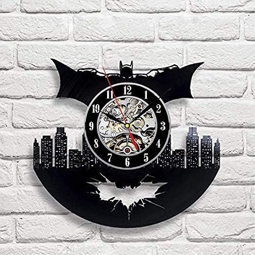 Batman Art Vinyl Wall Clock Handmade Gift Room Modern Home Record Vintage Decoration