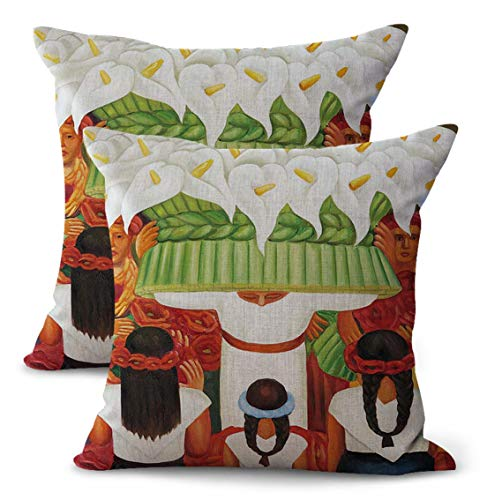 (WholesaleSarong Set of 2 Flower Festival Diego Rivera Cushion Cover Awesome Pillow Cases Mexico Painter Artist Artwork Latino)