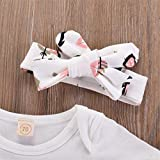 Newborn Baby Girl Clothes Romper Outfits Long Pants and Short Romper Tops +Bow Headband Fall 3PCS Clothes Set 0-3Months