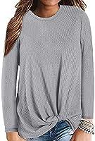 Century Star Women's Long Sleeve Blouse Twist Knot Waffle Knit Tunic Shirts Casual Loose Tops 02 Light Grey XX-Large