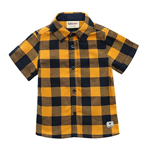 MOMOLAND Baby Todder Boys Short Sleeve Woven Flannel Shirt Plaid Yellow (4 Years)