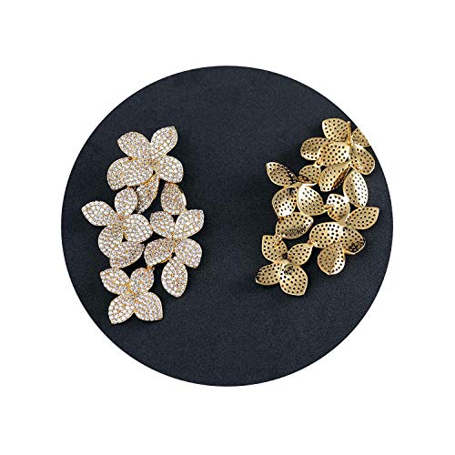 Clear Pave Flower Design Drop Dangle Earring,Great Design,AAA+ Cubic Zirconia Fashion Earring,Gold-Color