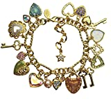 "KIRKS FOLLY SWEETHEART SEAVIEW MOON CHARM BRACELET - adjustable 7""-9"""