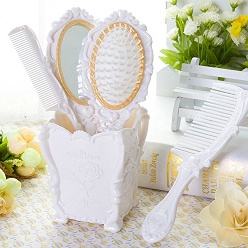 Dolovemk Girls Hair Brushed and Comb Mirror Set with Storage Holder, Classical Vintage Princess Style for Hair Makeup Dressing (White)