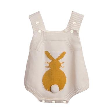 BaZhaHei Linda Ropa Bebé Recién Nacido Bebé Niño Niña Mameluco de Conejo de Punto Suéter Bunny