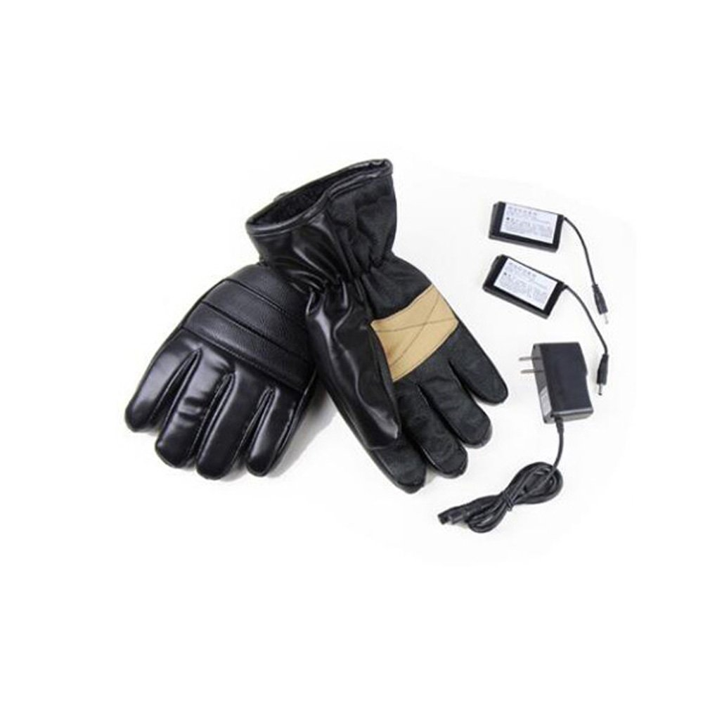 GOODKSSOP 1 Pair PU Leather Windproof Winter Ski Outdoor Work Warmer Gloves Cycling Motorcycle Bicycle Electric Heated Hands Glove with 3000mAh Rechargeable Battery (Black, M) by GOODKSSOP (Image #4)