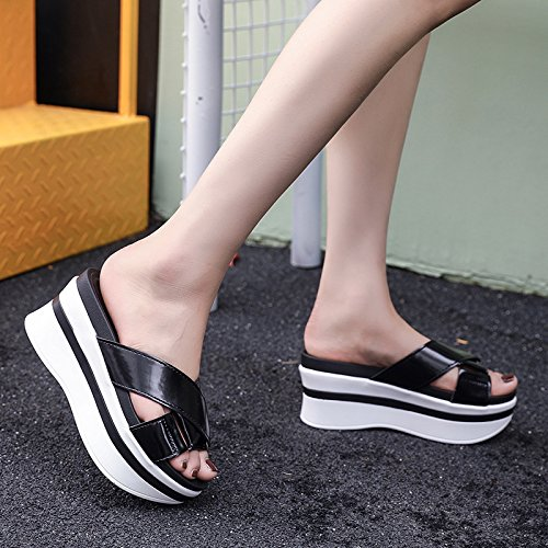 Cool women Table Casual Waterproof Entertainment WHLShoes Ladies Metal Thick slippers Muffin Heel High Bottom gules Slippers Flat Bottom qxCwSU