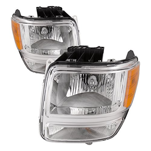 HEADLIGHTSDEPOT Compatible with Dodge Nitro Halogen-Type Headlights Headlamps Set New Pair (Nitro Dodge Assembly Headlight)