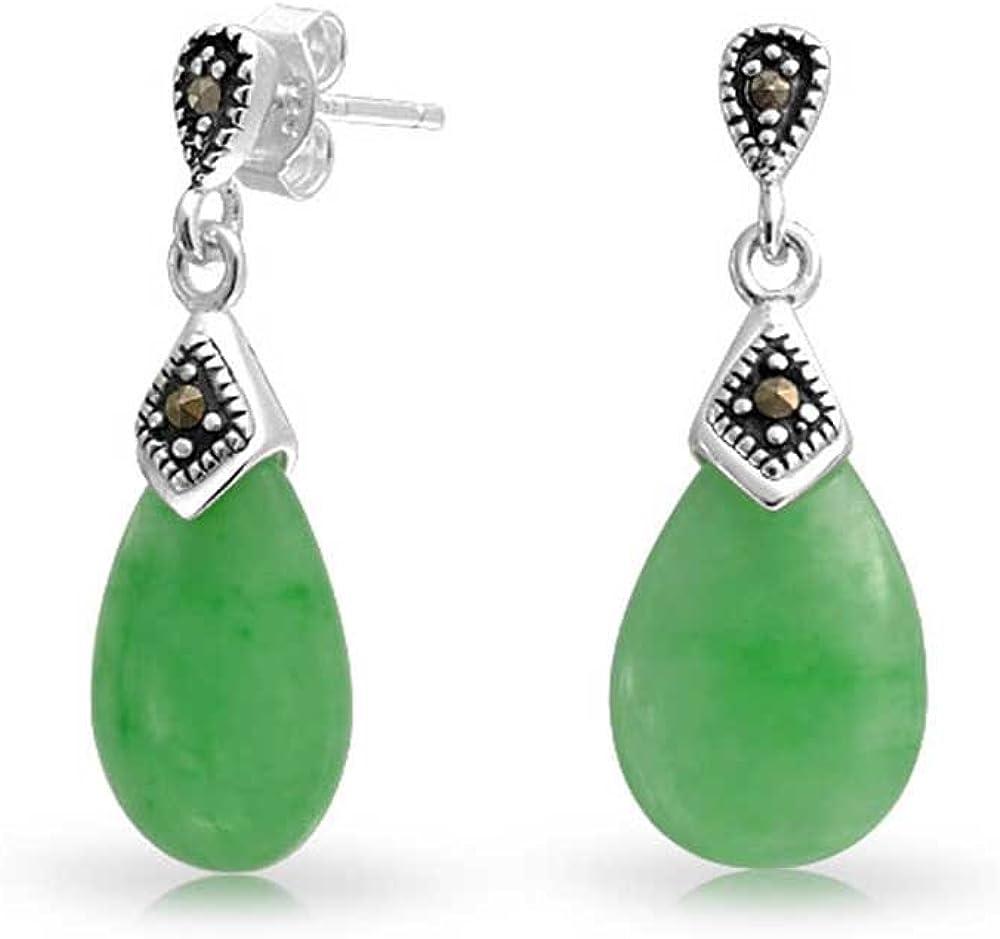 Teñido De Verde Jade Lágrima En Forma De Pera De Marcasita Colgante Stud Pendiente Para Mujer 925 Plata De Ley 925