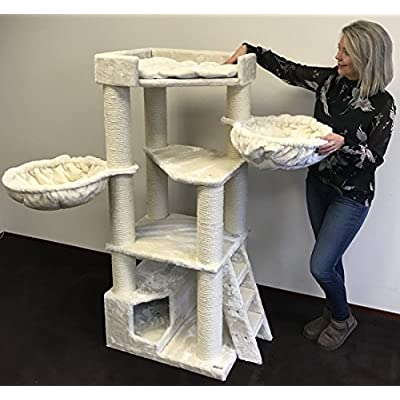 Cat Tree LUCICO Cat Dewormer for Large Cats – Corner Cat XXL Beige [tag]