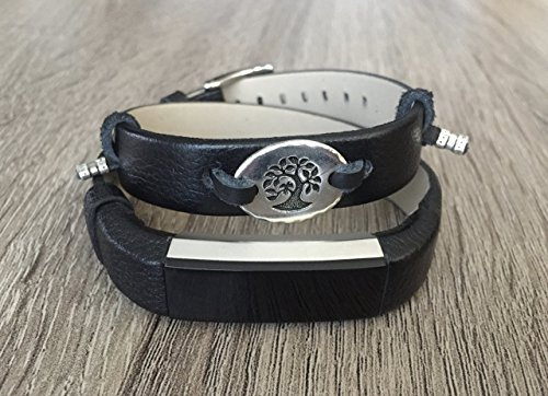 Black Genuine Leather Band For Fitbit Alta/Alta HR Tracker Handmade Double Wrap Grained Design Adjustable Size Fitbit Alta Bracelet Silver Tree Of Life Jewelry Charm Fashion Fitbit Alta Band ()