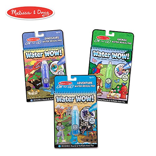 Melissa & Doug On The Go Water Wow! Activity Pad 3-Pack, Dinosaurs, Adventure, Animal (Reusable Water-Reveal Coloring Books)