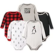 Hudson Baby Baby Infant Long Sleeve Bodysuit 5 Pack, Penguin, 3-6 Months