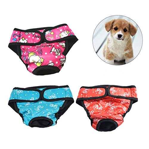 UEETEK Pet Dog Puppy Diaper Sanitary Physiological Pants Female Dog Shorts Panties Menstruation Underwear Size M-Pack of 3