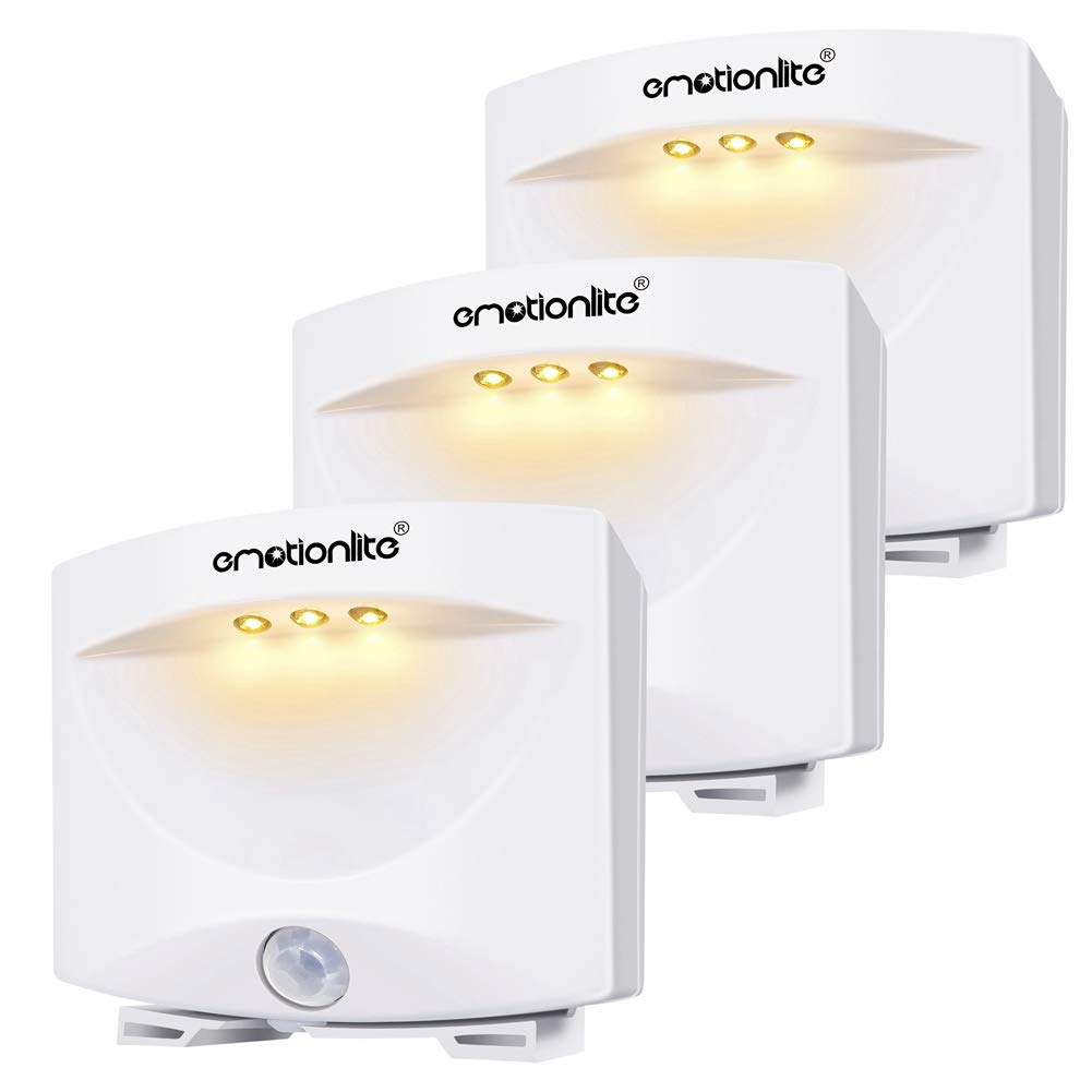 Motion Sensor Light, Emotionlite LED Motion Activated Night Light, Closet Light, Stick Anywhere, Battery Powered, Bathroom, Kitchen, Bedroom, Hallway, Cabinet, Stairs, Living Room, Warm White, 3 Pack