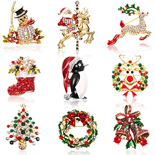 WILLBOND 9 Pieces Christmas Broo...
