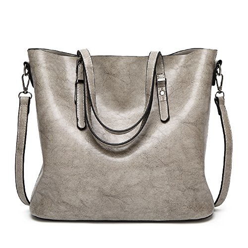 Handbags Soft Satchel PU Grey Bag SUNROLAN Handle Messenger Hobo Leather Top Tote Hot Shoulder Bag Women's wXXOqRPA