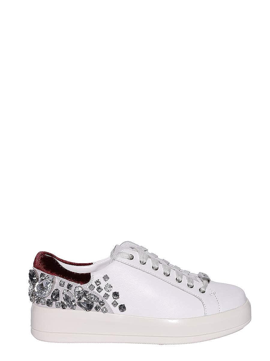Liu Jo Scarpa Sneaker Kim 08 Lace up Calf Leather Donna MOD. B38021 Bianco