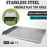 Snow Shop Everything Non-Stick Surface with 36'' x 22'' Stainless Steel Griddle Flat Top Grill for Triple Griddle Cookware